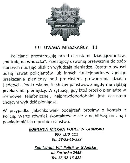 Ogłoszenie policja